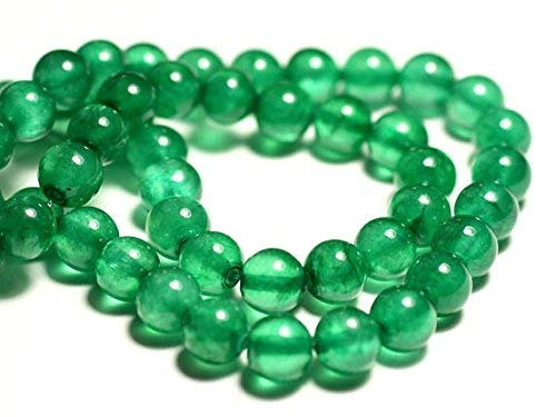 39cm Stone Beads - Jade Balls 8 mm Green Imperial Empire by Gemswholesale