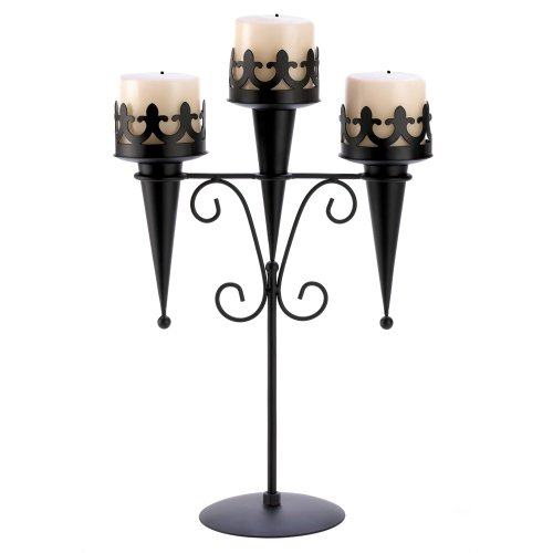 Gifts & Decor Black Iron Medieval Style Triple Lantern Candle Stand