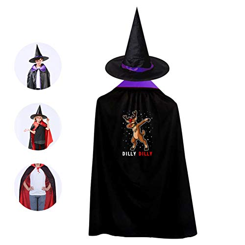 Kids Christmas Deer Dab Halloween Costume Cloak for Children Girls Boys Cloak and Witch Wizard Hat for Boys Girls Purple ()