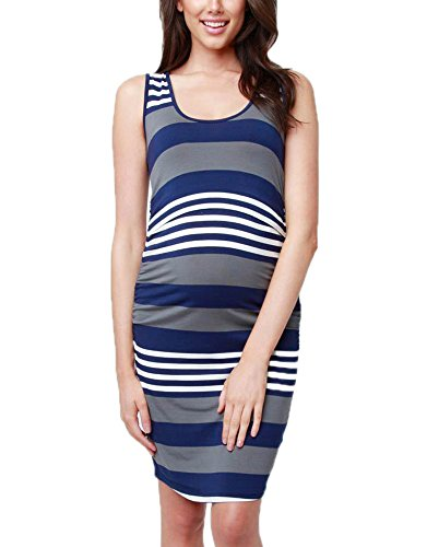 ginocchio 5 Dress Gravidanza Strips Casual Womens S Lunghezza Fit Maternity 2XL Vest Blu Nursing colori Slim Dress pqqtvw7