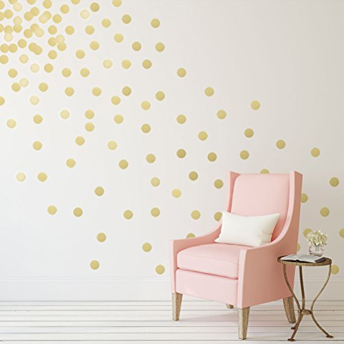 gold polka dots wall decals 2 210 decals removable peel and stick metallic vinyl d cor. Black Bedroom Furniture Sets. Home Design Ideas