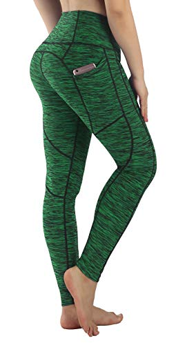 4645e2938a25a Neonysweets Womens High Waist Tummy Control Yoga Pants Printed Active  Workout Leggings with Pockets Jungle Green