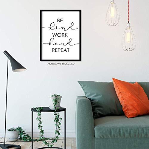 Be Kind Work Hard Repeat Wall Art Decor Print Motivational Inspirational Quote 11x14 unframed print