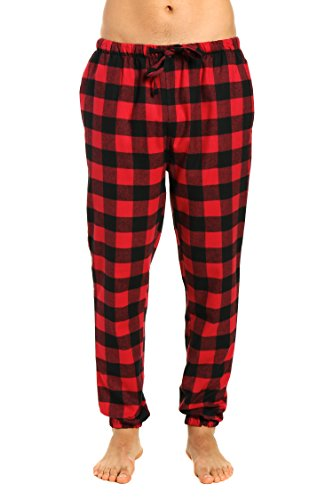 Flannel Gingham (Men's Premium Flannel Jogger Lounge Pants - Gingham Checks - Black-Red - Medium)