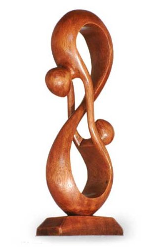 NOVICA Large Brown Romantic Suar Wood Sculpture, 15.75