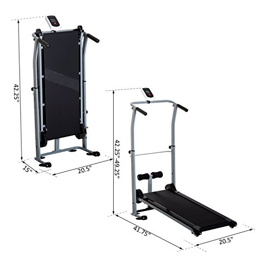 Soozier Folding 2-in-1 Manual Walking Incline Treadmill and Sit Up Exercise Machine by Soozier (Image #4)