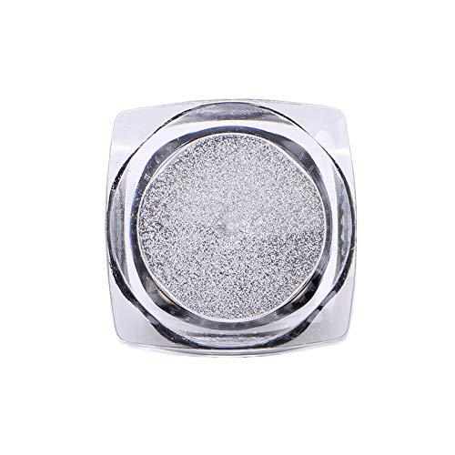 Nail Glitter Powder Shinning Nail Mirror Powder Makeup Art Chrome Pigment DIY (Color - Silver)]()