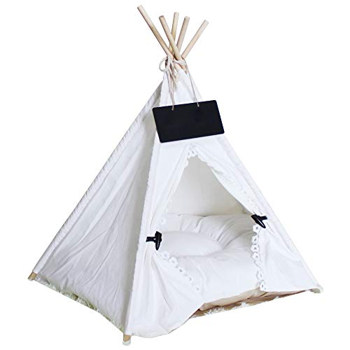 Norgail Pet Teepee Tent for Dogs Puppy Cat Bed Portable White Canvas Dog Cute House Indoor Outdoor Tent Small Medium Pet…