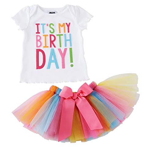 Girls'It's My Birthday Print Shirt Tutu Skirt Dress Outfit Set (White+Pink a, 2-3 Years)]()