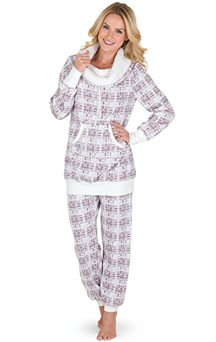 Ivory Lounge Set - PajamaGram Women's Chalet Shearling Rollneck Lounge Set, Pink, XSM (2-4)