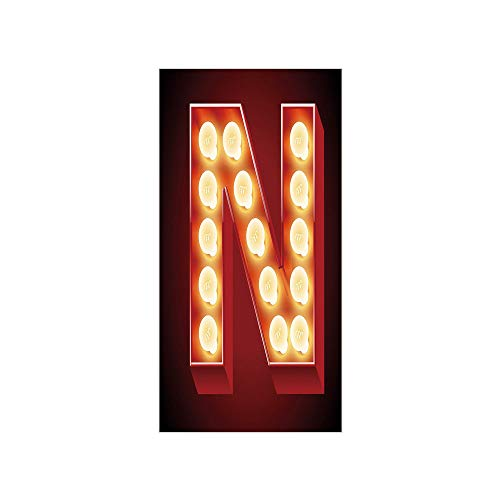 indow Film/Old Fashioned Movie Theater Carnival Casino Entertainment Night Life Decorative/No-Glue Self Static Cling for Home Bedroom Bathroom Kitchen Office Decor Vermilion Yellow ()