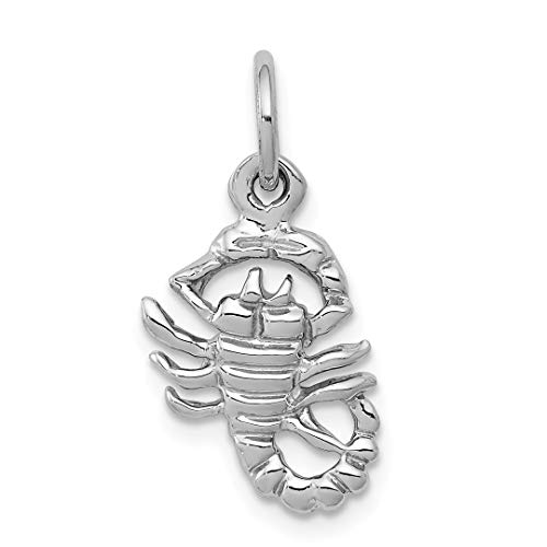 10k White Gold Scorpion Pendant Charm Necklace Zodiac Fine Jewelry Gifts For Women For Her