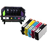 ink yield Compatible 1 Pack For HP564 Printhead / Printer Head For HP 7510 7515 7520 CB326A CB326 CN642A CB326-30002 (5 Slot) and 5 pack HP 564 Ink Cartridges with photo black