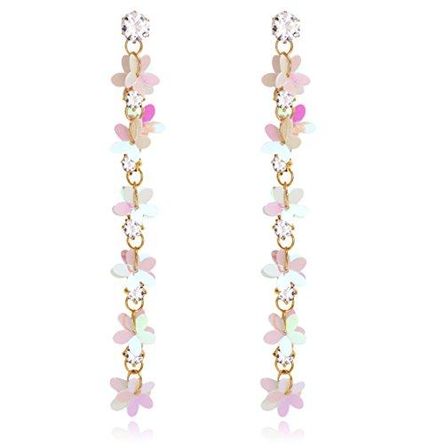 Cherry Blossom Handmade Iridescent Multi Layered Flower Motif with CZ Long Statement Drop (Dangling Cherry)