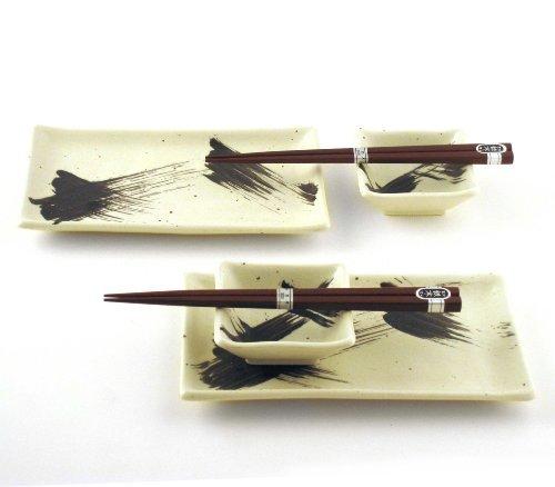 Japanese Sushi Tray Set for Two with Chopsticks, Brush Black on White ()
