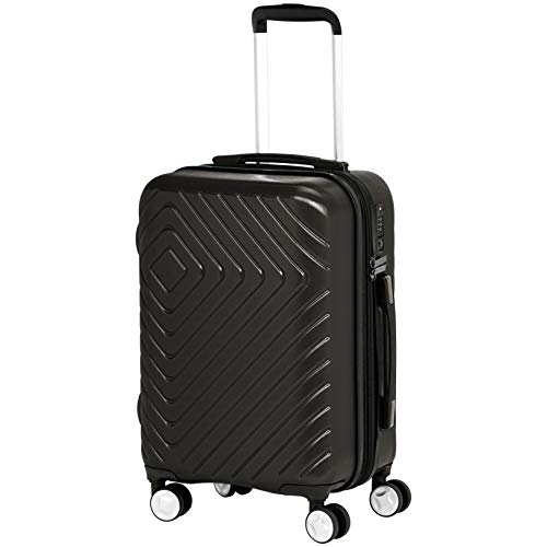 AmazonBasics Geometric Travel Luggage Expandable Suitcase Spinner with Wheels and Built-In TSA Lock, 21.7-Inch - Black