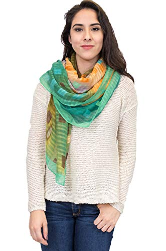 Water color abstract square Scarf with Borders Print Scarf (Peacock)