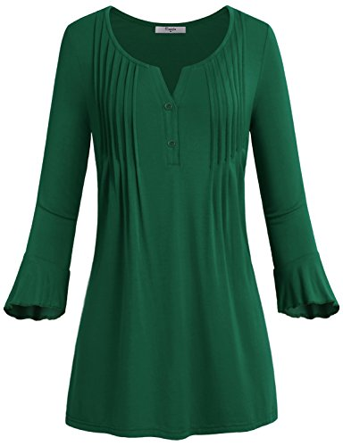 Button Up Shirt,Cestyle Womens Bell Sleeve Elegant Dressy Tunic Henley V Neck (One Button Swing Jacket)