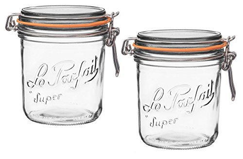 Le Parfait French Terrines Wide Mouth Glass Canning Jar with 100mm Gasket, 750 Grams (Pack of 2) by Le Parfait