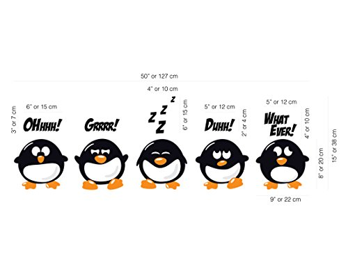 Bad attitude penguins vinyl wall decal custom wall sticker amazon com