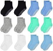 Toddler Socks Grip Non Slip 12 Pairs Baby Boy/Girl High Ankle Sticky Floor Socks For 1-3/3-5/5-7/7-10T Boy Kid