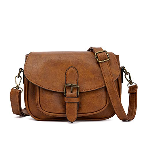 Small Purse Vintage Satchel for Women PU Leather Cover Hasp Crossbody Bag and Saddle Shoulder Bag with Long Adjustable Strap (Light - With Satchel Small Strap