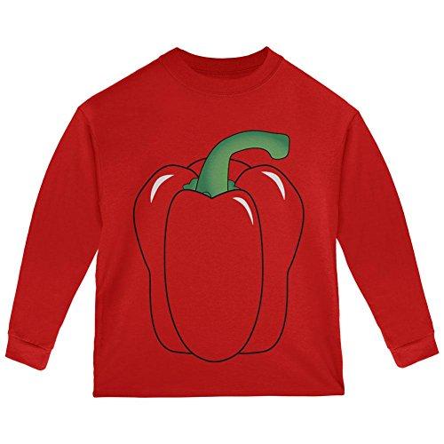 Halloween Bell Peppers (Halloween Fruit Vegetable Bell Pepper Costume Toddler Long Sleeve T Shirt Red)