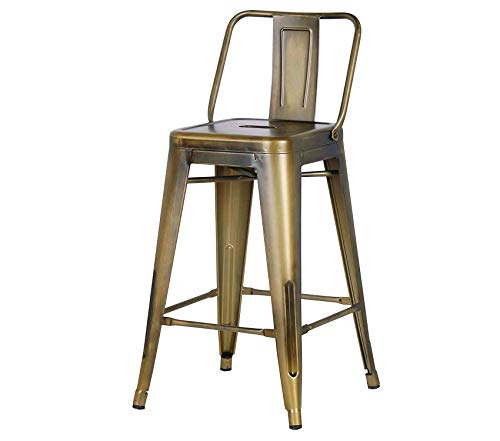 - Deluxe Premium Collection Low Back Indoor & Outdoor Metal Chair Barstool Brass Gold Set of 2 Decor Comfy Living Furniture