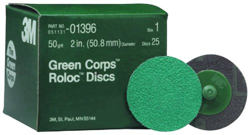 3M 01396 Green Corps Roloc 2'' 50YF Grit Disc (Pack of 10) by 3M (Image #1)