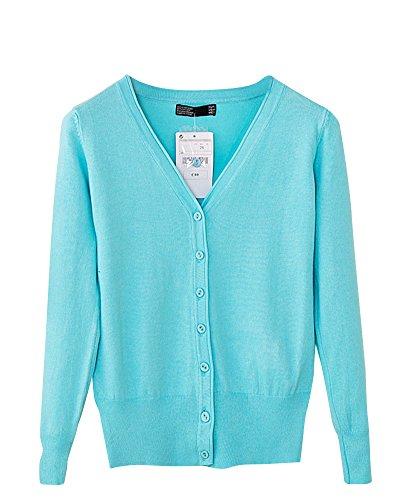 Lac Maille en Manteau Bleu V Chale Femme Cardigan Unie Manches Cou Couleur Bouton Longues ntTqwIw7