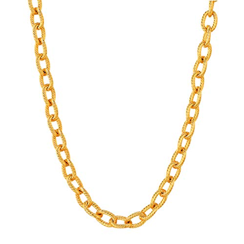 U7 Men Women 18K Gold Plated Thick Chunky 6mm Circle Link Chain Necklace ()