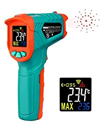 Mileseey Infrared Thermometer Temperature Gun Non-Contact Laser Digital Thermometers with Color LCD Display -58?~716?Adjustable Emissivity & Max Measure for Kitchen Cooking Meat BBQ