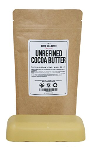 Unrefined Cocoa Butter - Use on Pregnancy Stretch Marks, Make Moisturizing Lotion, Chap Stick, Lip Balm and Body Butter - 100% Pure, Food Grade, Smells Like Chocolate - 8 oz by Better Shea Butter (Natural Cocoa Butter)