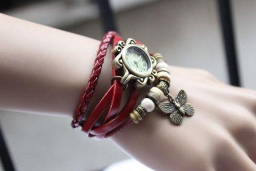 Jim Fashion Accessories Trial Order New Quartz Fashion Weave Wrap Around Leather Bracelet Lady Woman Wrist Watch Red