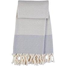 HAND LOOMED thicker than other Turkish Pestemal Peshtemal Towel Bath Beach Towel Hammam Yoga Thin Travel Camping Gym Pool Blanket 100% Natural Cotton (Light Grey)