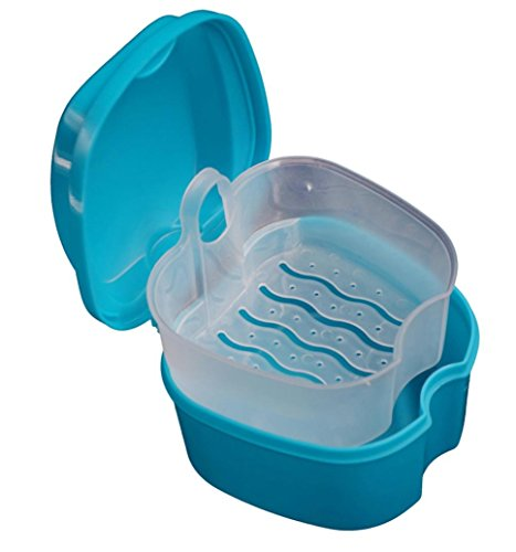 Putars Portable Denture Bath Box Case Dental False Teeth Storage Box with Hanging Net Container Blue