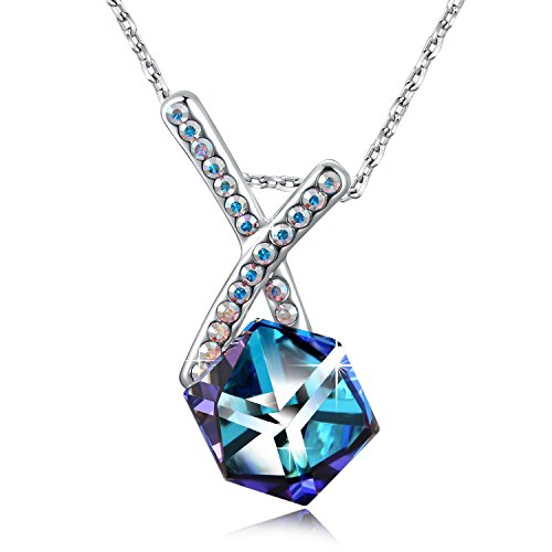 SUES SECRET Swarovski Cross Necklace Love Cubics Pendant Necklace with Swarovski Crystals, 18