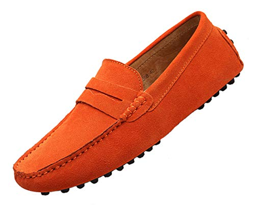 (TSIODFO Suede Orange Loafers for Men Slip on Dress Shoes Breathable Leather Flat Fashion Driving Shoes Penny Driver Walking Sneakers Moccasin Business Casual Shoes Big Plus Size (2088-orange-46))