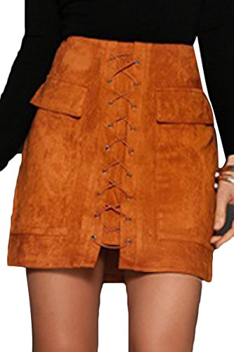 Prograce Womens Lace Up High Waist Skirt Teen Girls Fitted Suede Mini Skirt Khaki L ()