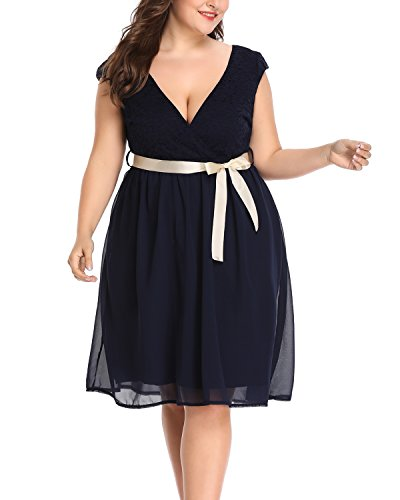 Dress Midi Sleeved (Women's Plus Size Surplice V Neck Lace Bodice Sleeved A-Line Cocktail Wedding Dress Navy Blue 16W)