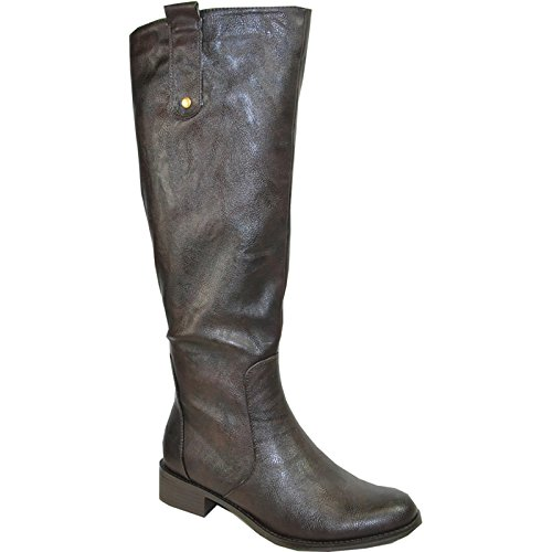 Kozi Women Riding Boot SD4505W Fur Lined Winter Boot With Wide Calf Coffee 37M