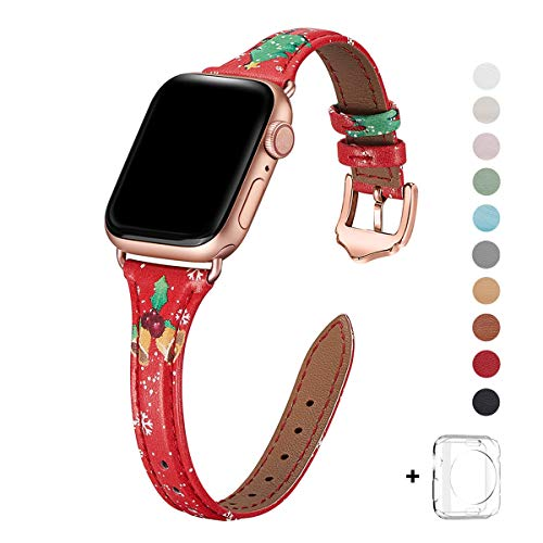 WFEAGL Leather Bands Compatible with Apple Watch 42mm 44mm, Top Grain Leather Band Slim & Thin Wristband for iWatch Series 5 & Series 4/3/2/1 (Red Christmas Band+Rose Gold Adapter, 42mm 44mm)