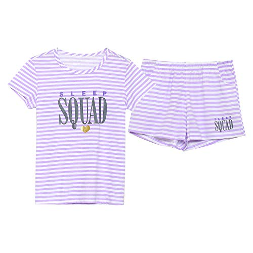 Girls Summer Pajamas - Stripe & Glittering Heart Jammies Set Big Kids Size -