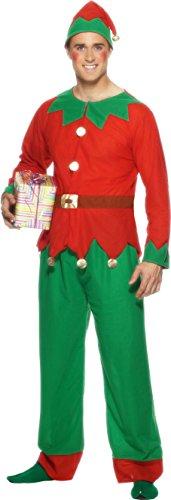 Mens Elf Costume Uk (Smiffy's Men's Elf Costume One Size White)