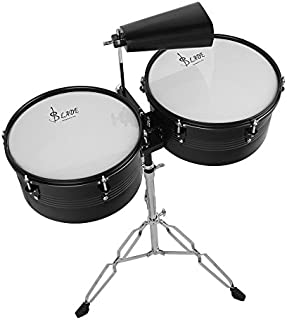 Ammoon Latin Percussion Timbales drum set con supporto e campanaccio