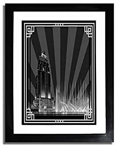 Address Hotel Down Town- Black And White With Silver Border No Text F07-m (a2) - Framed