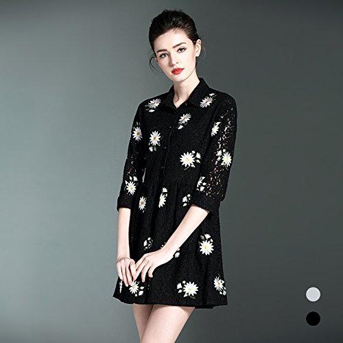 ZHUDJ Las Mujeres De Gran Tamaño _ Primavera Y Otoño Flor De Agua Vestido Encaje Extremo Suelto black