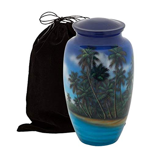 (Liveurns Hand Painted Metal Cremation Urn - Adult Urn - Solid Metal Funeral Urn - Handcrafted Adult Funeral Urn for Ashes - Great Urn Deal (Ocean and Palm Trees))