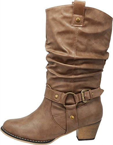Cambridge Select Women's Pull On Western Style Cowboy Boots (8.5 B(M) US, Taupe) by Cambridge Select (Image #7)