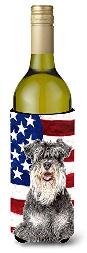 USA American Flag with Schnauzer Wine Bottle Beverage Insulator Hugger KJ1157LITERK